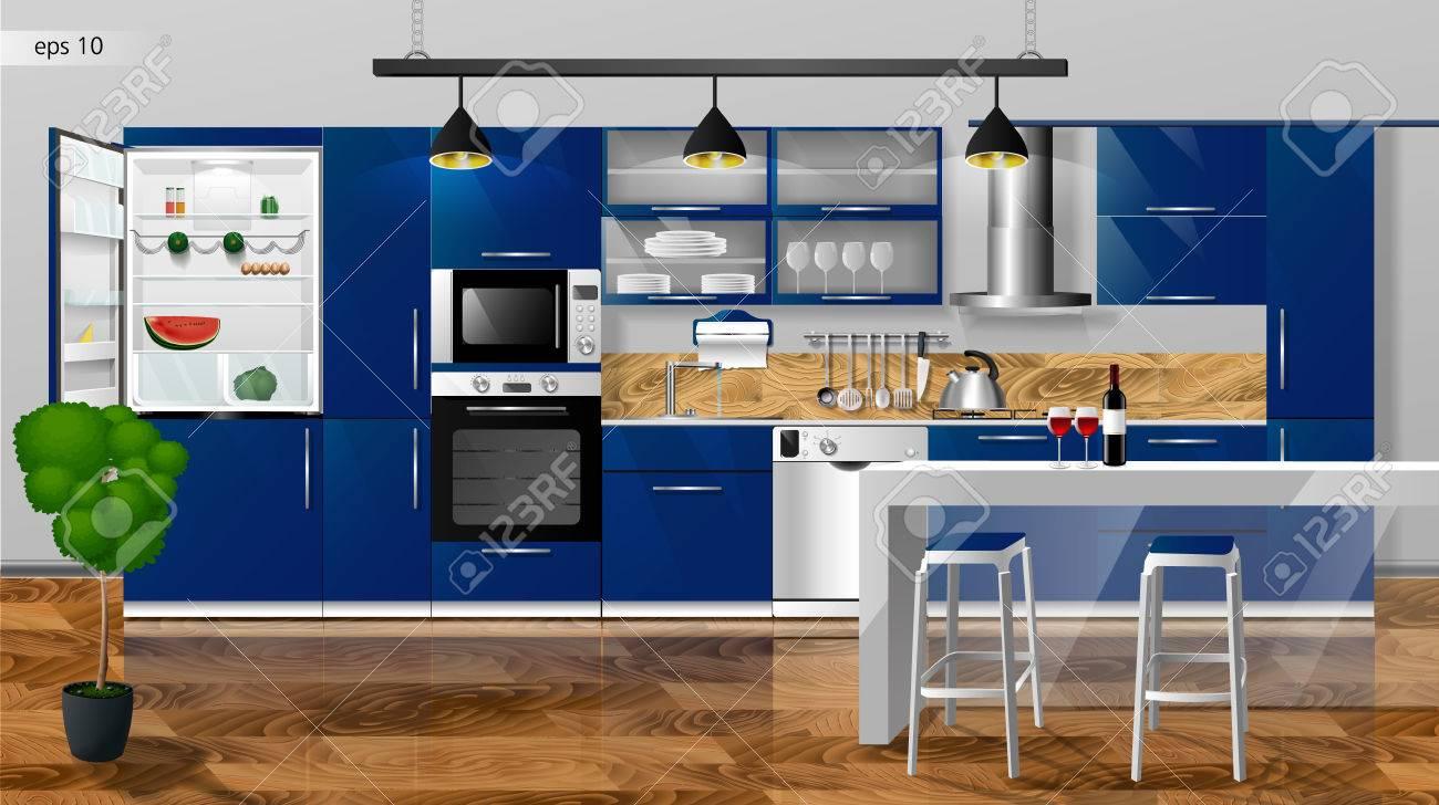 Intérieur de cuisine moderne. Illustration vectorielle Armoires de cuisine,  étagères, cuisinière à gaz, hotte, réfrigérateur, micro-ondes, ...