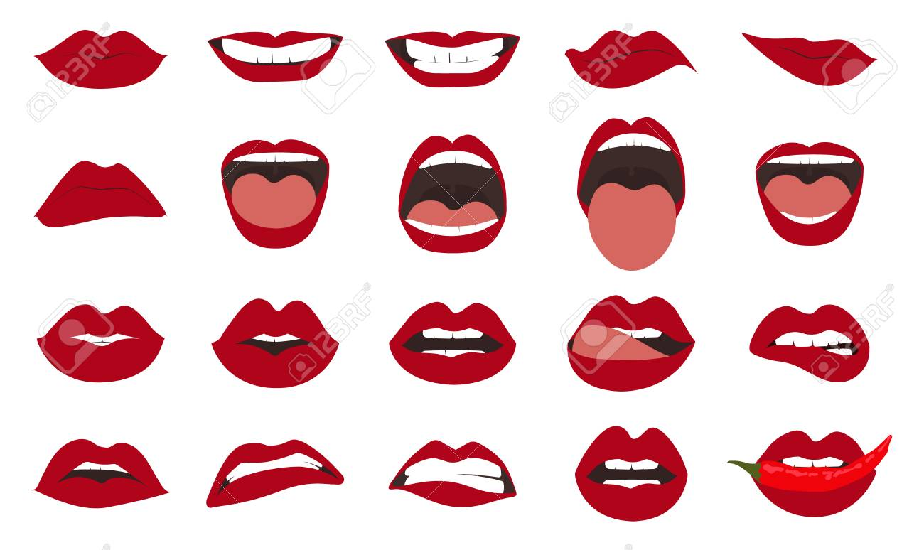 Woman lips gestures set. Girl mouths close up with red lipstick makeup expressing different emotions. - 104460718
