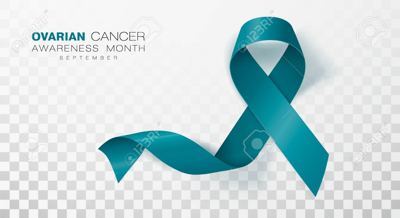 Ovarian Cancer Awareness Month Teal Color Ribbon Isolated On Royalty Free Cliparts Vectors And Stock Illustration Image 123582400