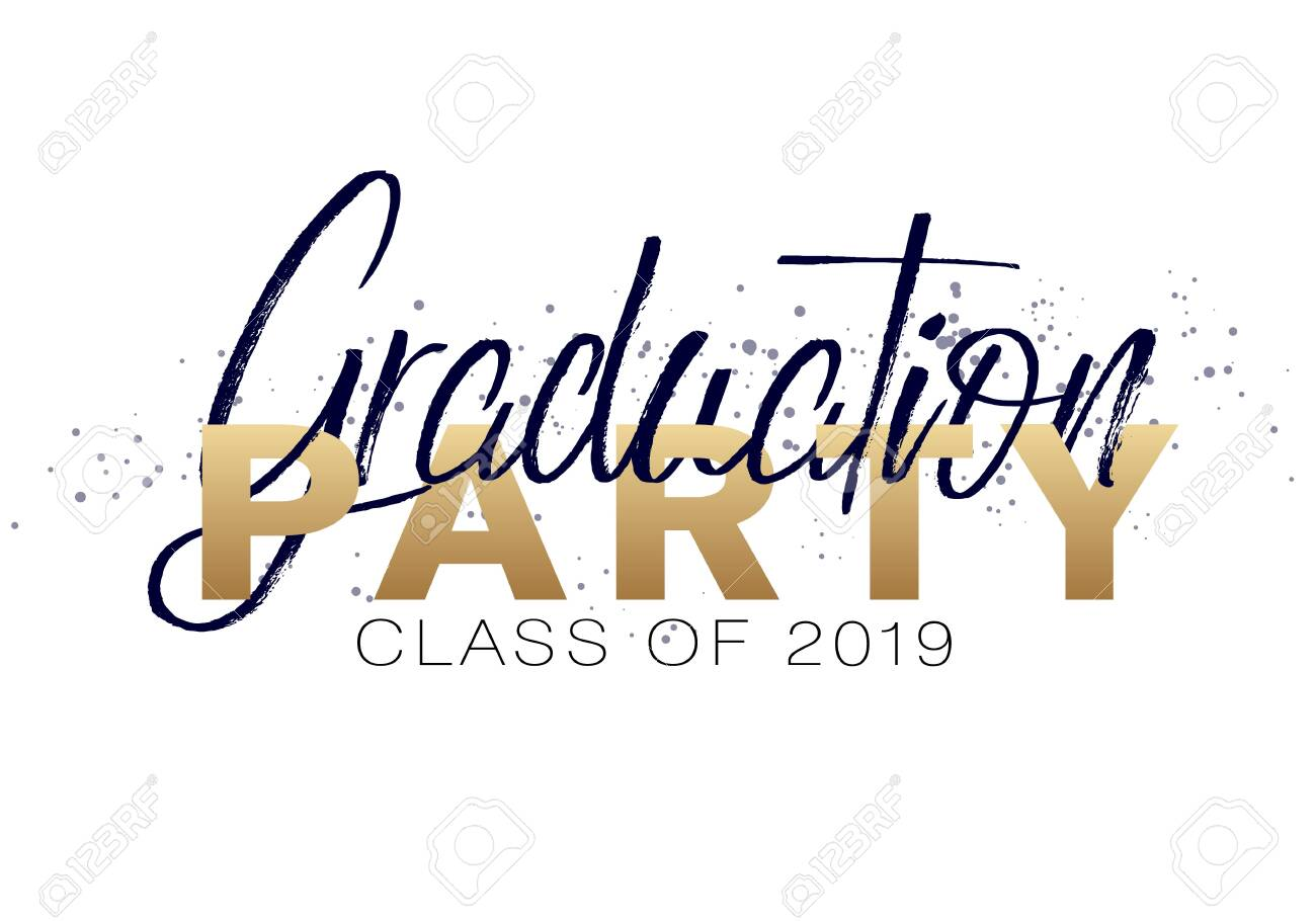 Graduation Label Lettering Class Of 2019 For Greeting Invitation