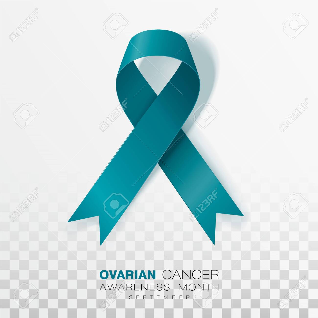 Ovarian Cancer Awareness Month Teal Color Ribbon Isolated On Royalty Free Cliparts Vectors And Stock Illustration Image 125972137