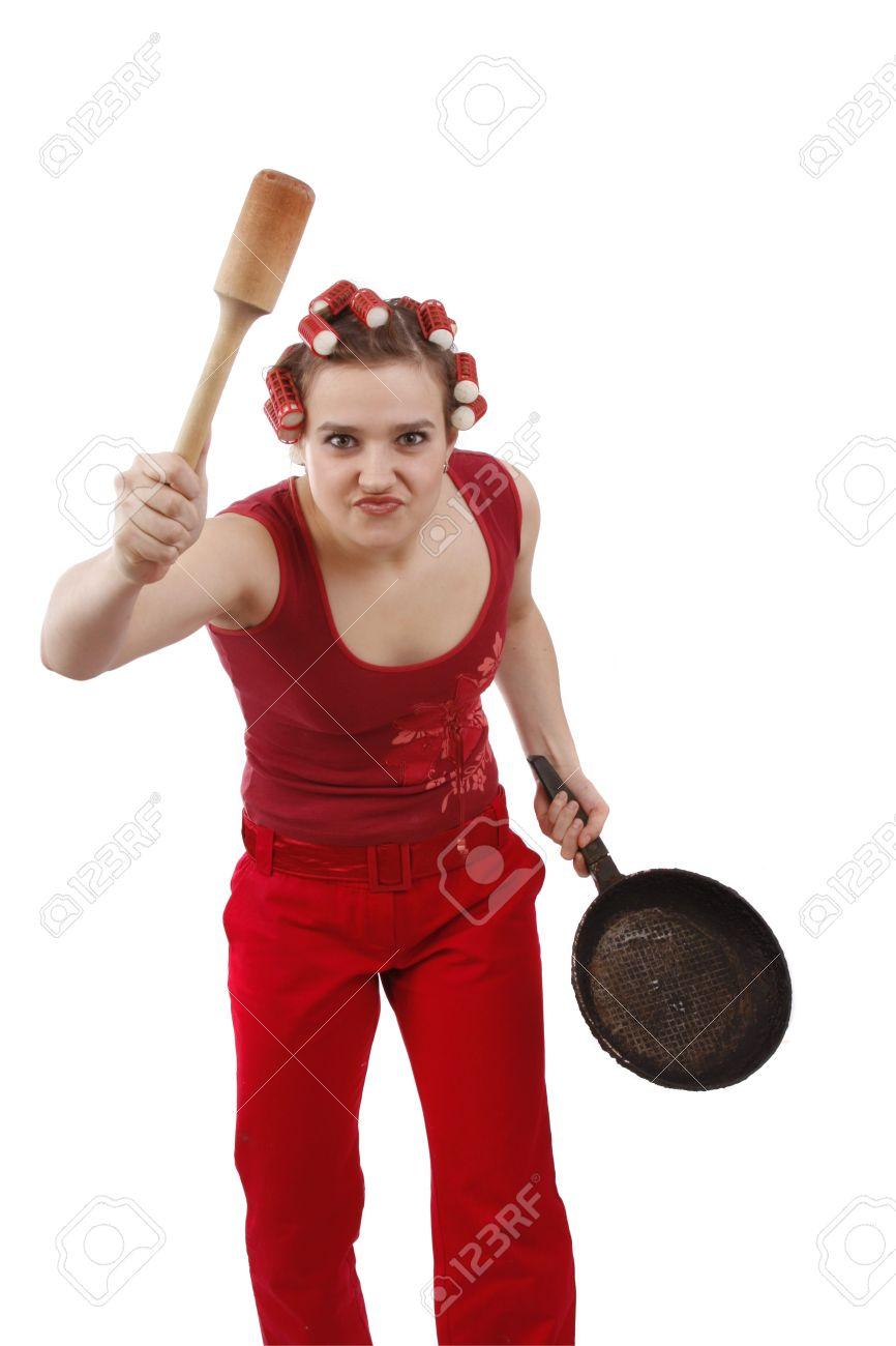 Фото девушек со сковородкой