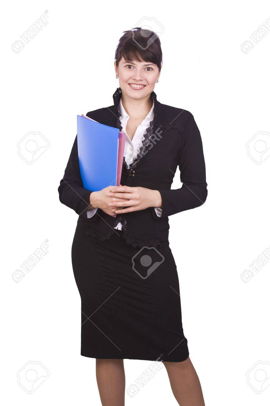 Happy successful business woman is holding folders . Young business girl with documents. Isolated over white background Stock Photo - 5674946