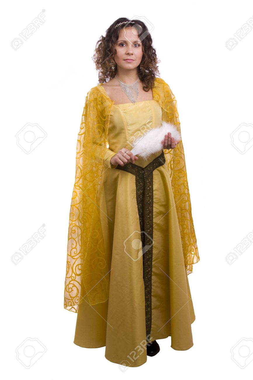 Stock Photo - Woman wearing fancy yellow dress on Halloween. A young woman dressed up as princess. Cute girl in medieval era costume on white background.  sc 1 st  123RF.com & Woman Wearing Fancy Yellow Dress On Halloween. A Young Woman.. Stock ...