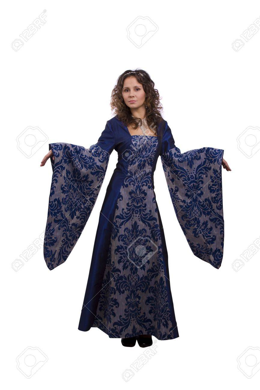 Woman wearing fancy blue dress on Halloween. A young woman dressed up as princess. Cute girl in medieval era costume on white background. Stock Photo - 5769208