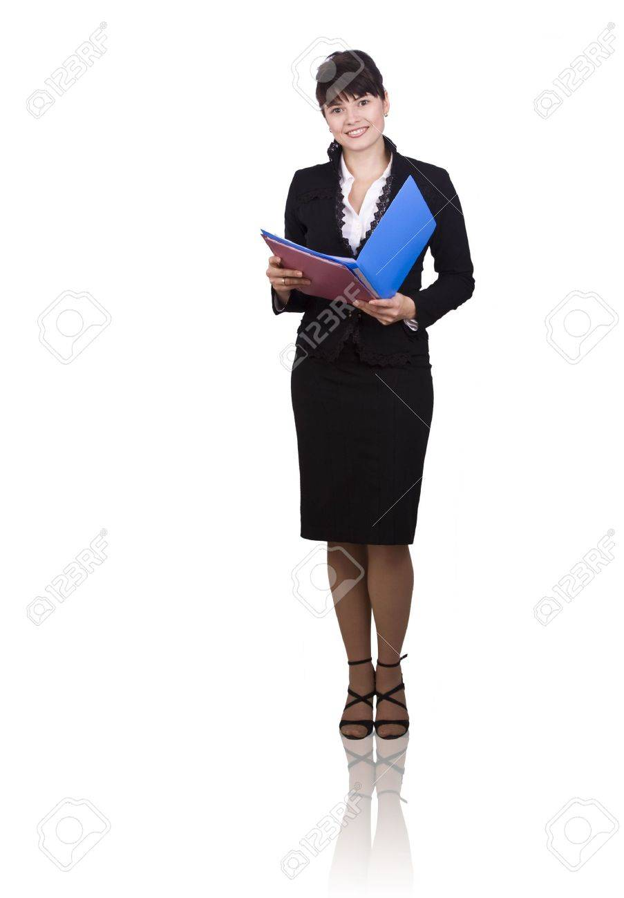 Happy successful business woman is holding folders . Young business girl with documents. Isolated over white background. Stock Photo - 5851356