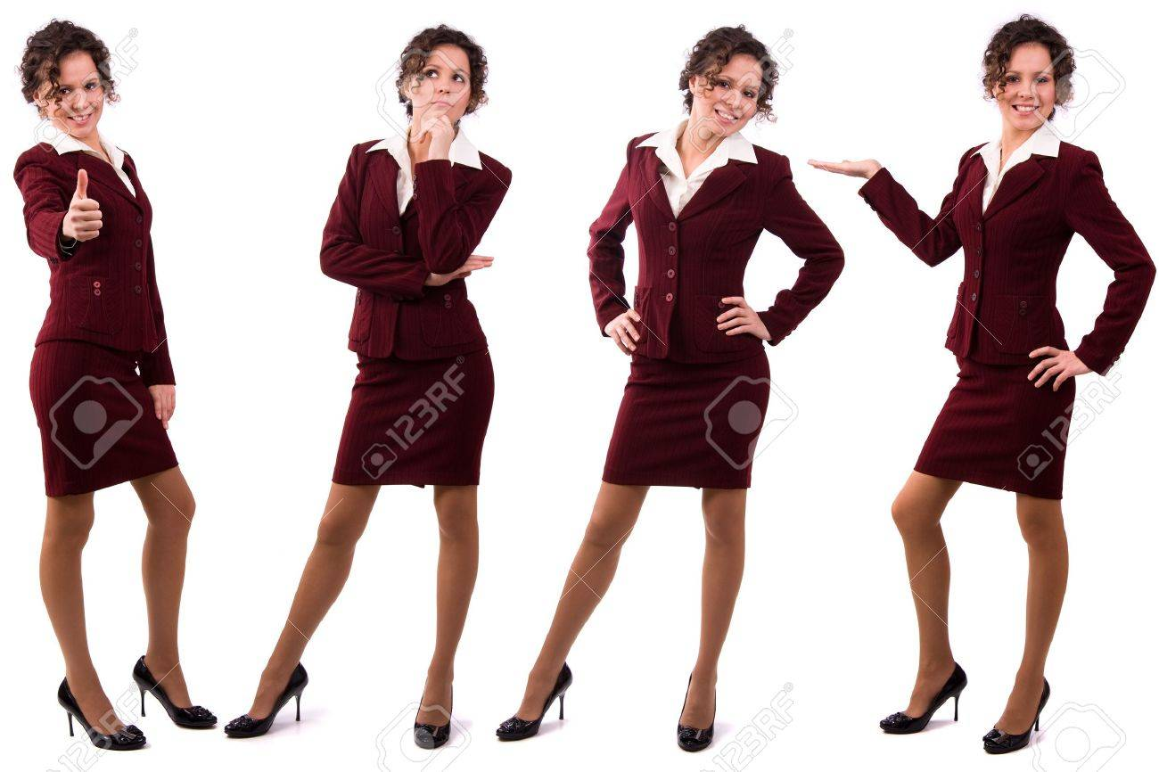 Whole-length portrait of business woman with brown hair is standing. Brunette businesswoman dressed in red suit. Isolated over white background. Stock Photo - 6352301