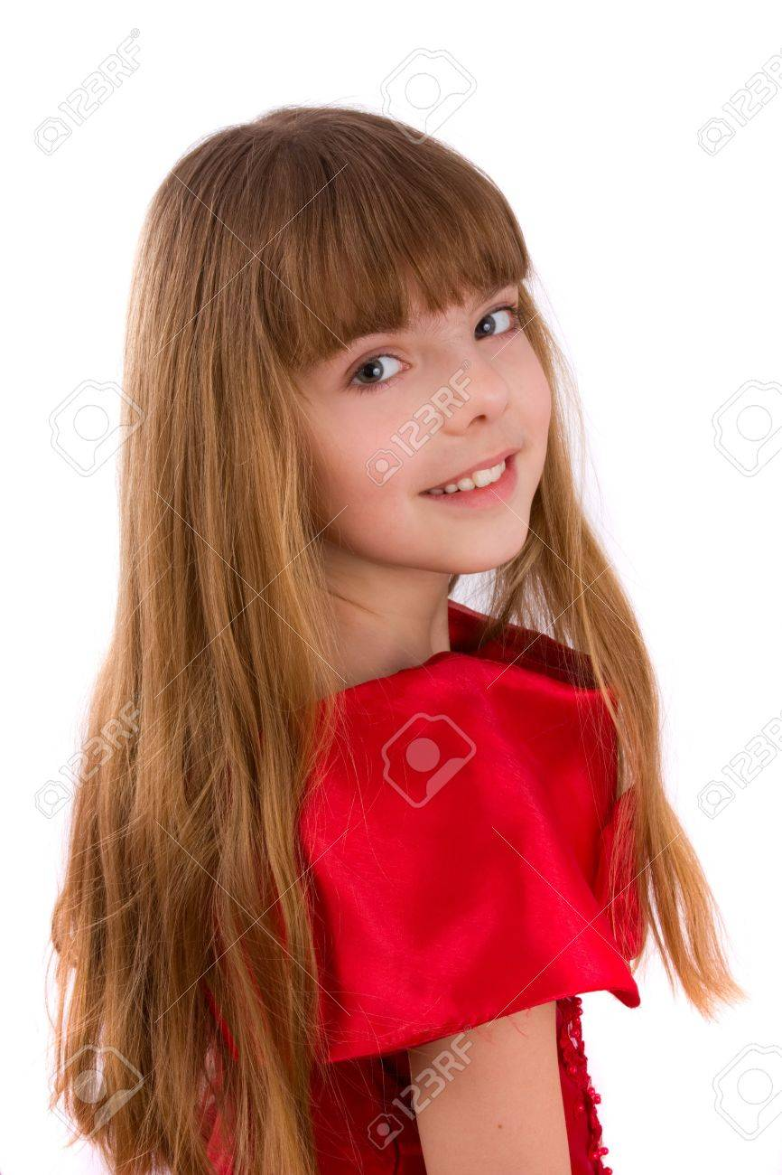 Close-up portrait of a beautiful blond girl. Little girl is wearing in red dress. Stock Photo - 7170040