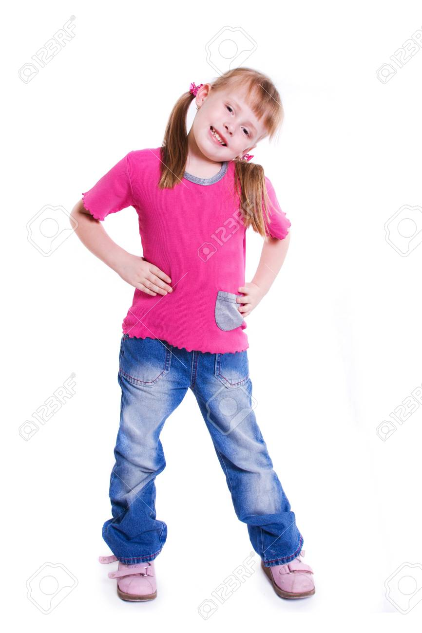Little girl in jeans on white background Stock Photo - 7797431