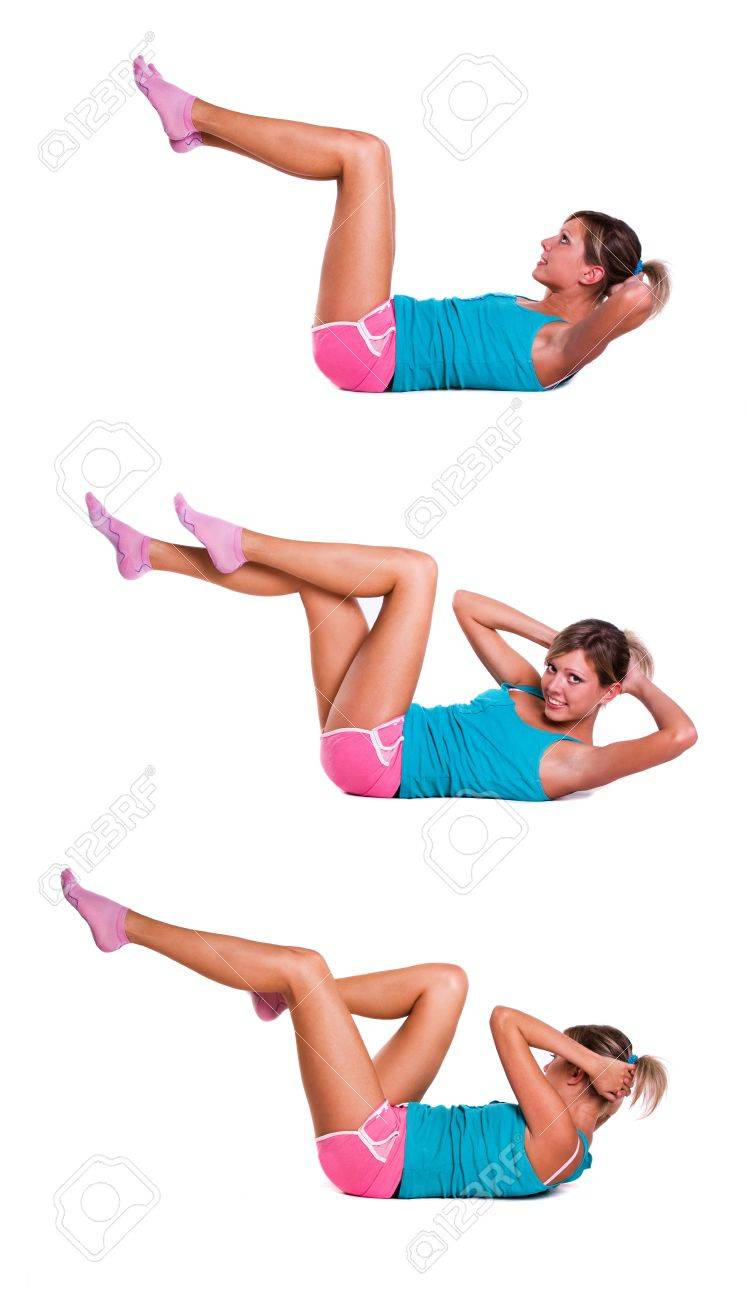 Young woman do exercises for abdominal muscles Stock Photo - 9050867