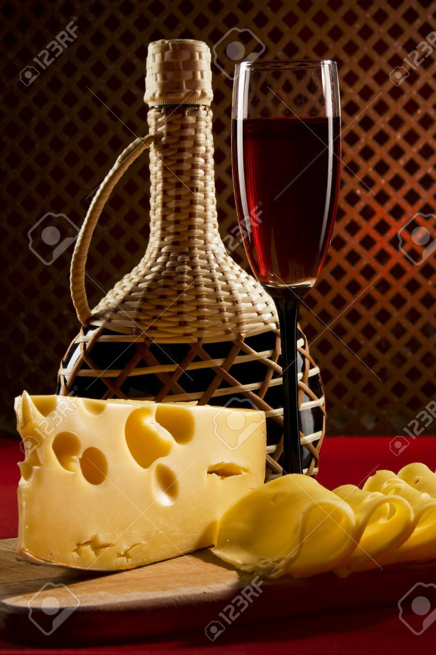 Red wine glass and cheese Stock Photo - 9050860