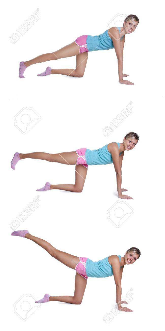 young woman doing exercises for  back of thigh Stock Photo - 9314665