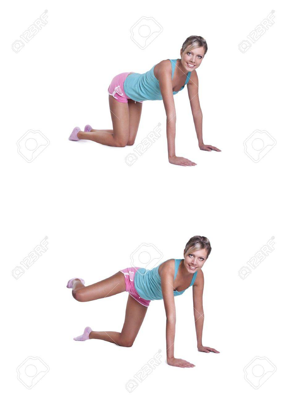 young woman doing exercises for buttocks Stock Photo - 9314631