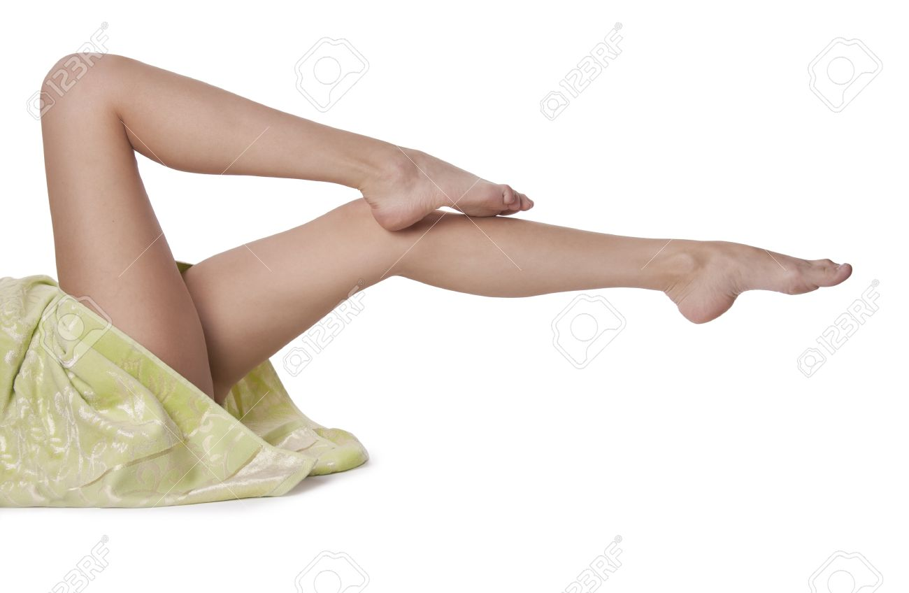Beautiful naked female legs at white background. Stock Photo - 9601619