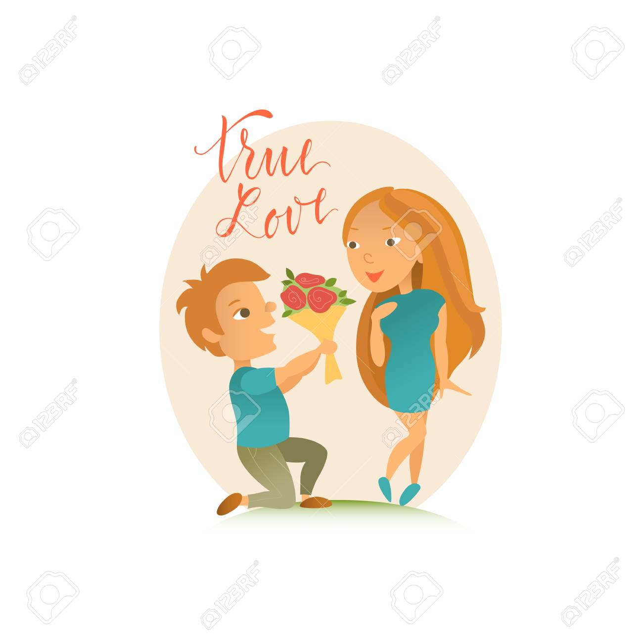 Vector illustration valentines day greeting card cartoon vector illustration valentines day greeting card cartoon characters lovers man and woman kristyandbryce Gallery