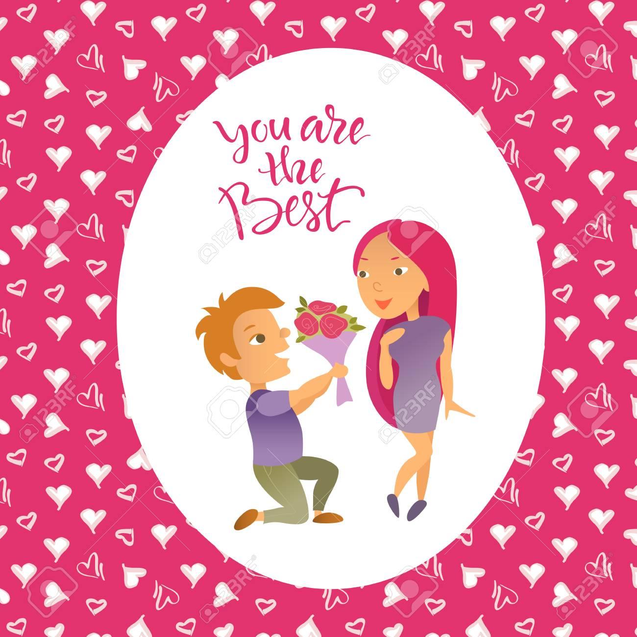 Valentinstag. Grußkarte. Zeichentrickfiguren. Lovers Mann Und Frau. Standard