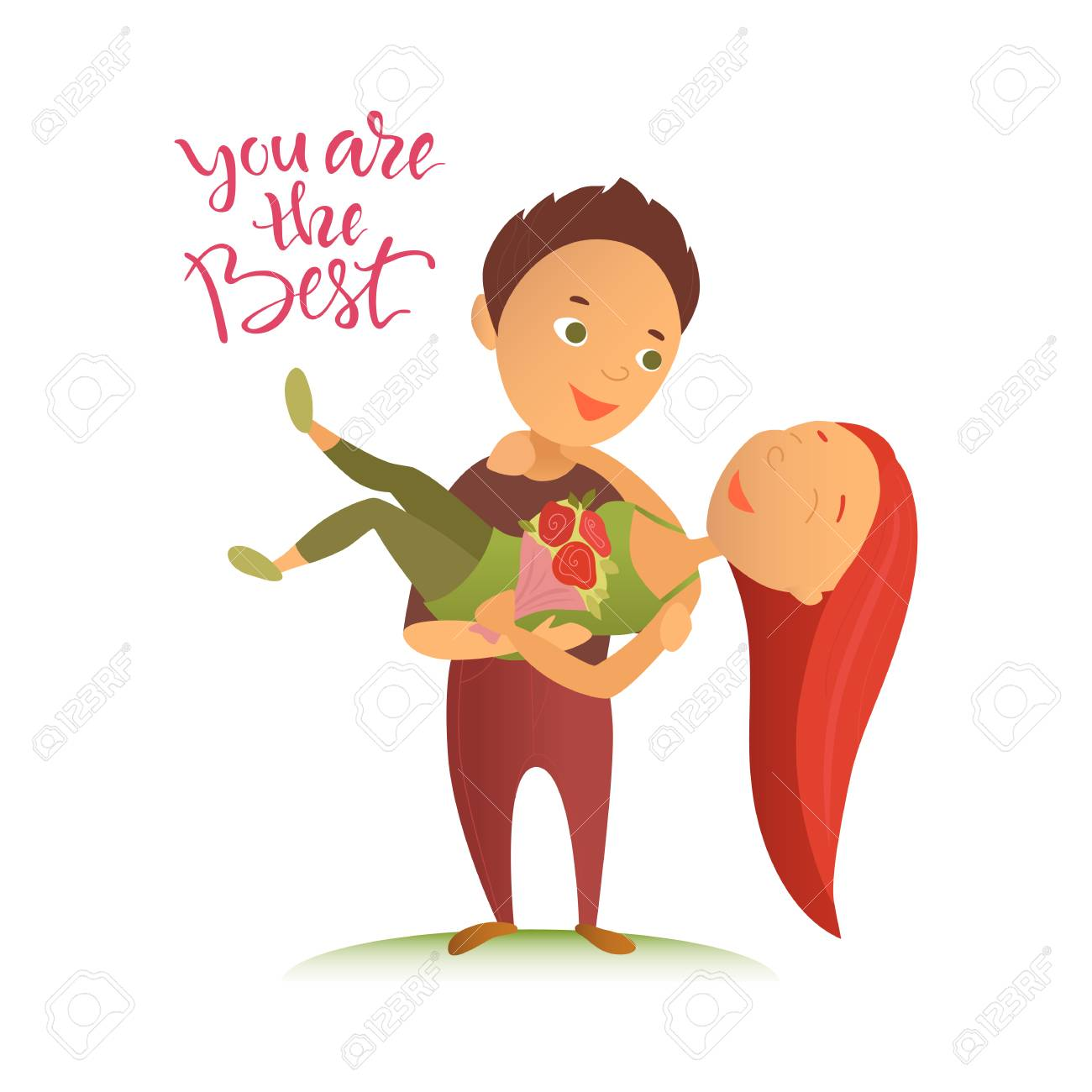 Vector illustration valentines day greeting card cartoon vector illustration valentines day greeting card cartoon characters lovers man and woman kristyandbryce Choice Image