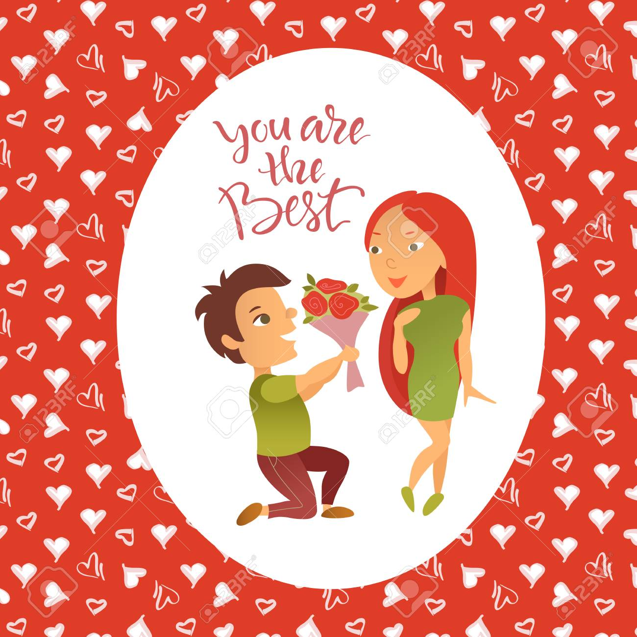 Vector illustration greeting card with valentines day holiday cartoon characters vector illustration greeting card with valentines day holiday postcard with the image of enamored kristyandbryce Gallery