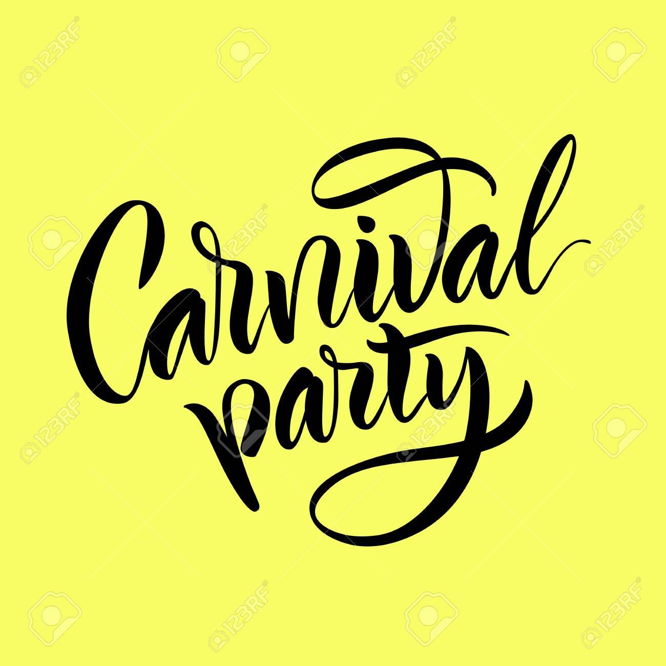 Ilustración Vectorial Pincel De Caligrafía Letras La Frase Fiesta De Carnaval