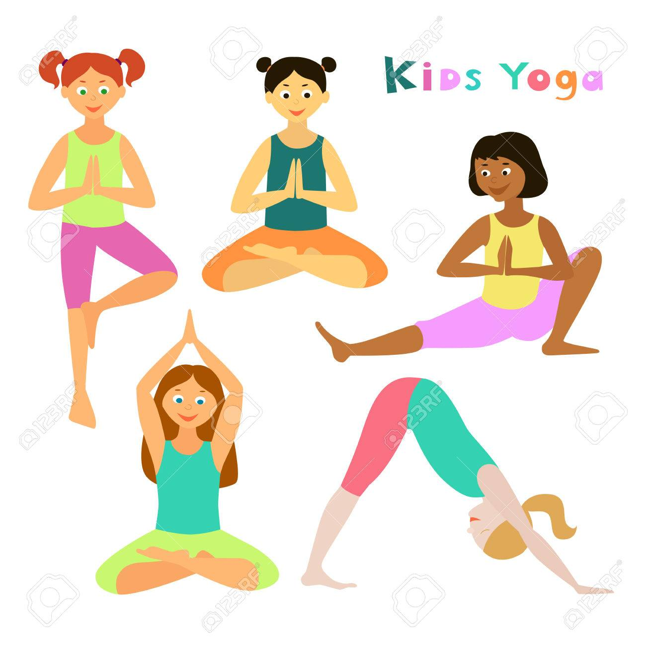 Kids Yoga Vector Illustration Asanas Set Of Yoga Poses Cartoon Royalty Free Cliparts Vectors And Stock Illustration Image 81002613