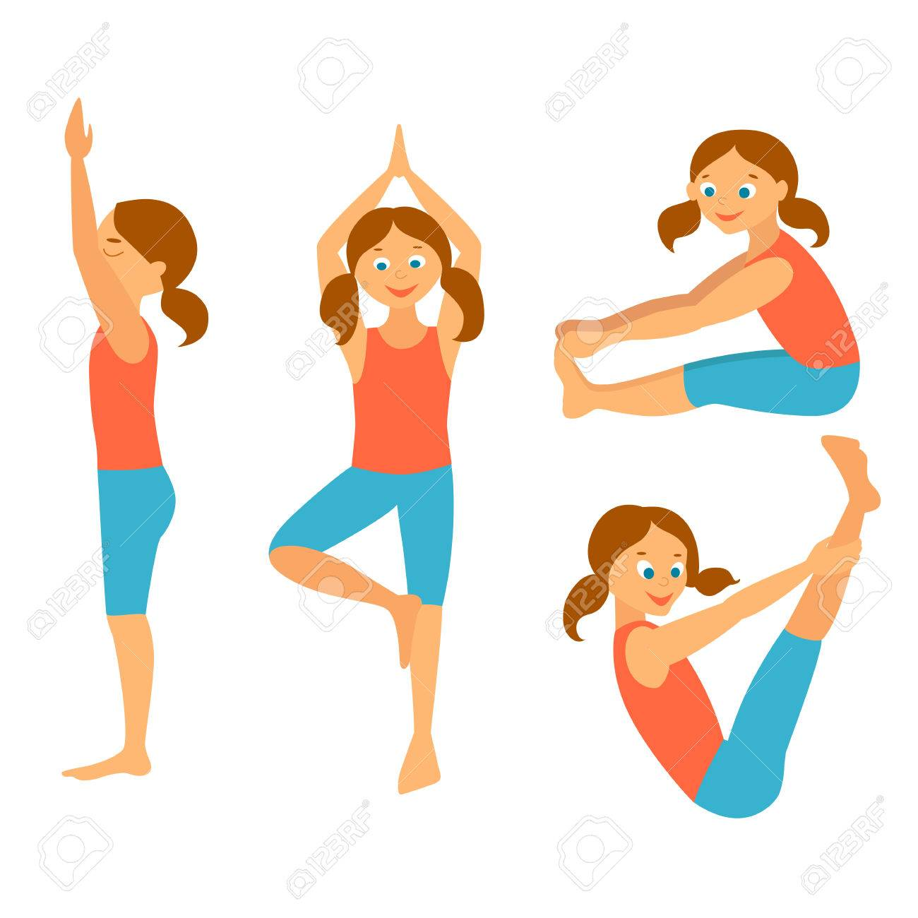 Yoga Kids Set Vector Illustration Yoga Asanas Exercises For Royalty Free Cliparts Vectors And Stock Illustration Image 81002625