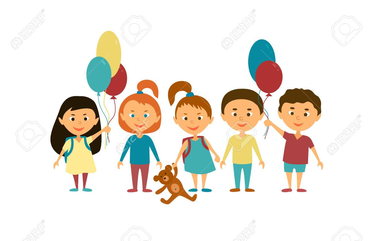 children cartoon characters friends funny kids with balloons and toys stock vector - Toddler Cartoon Characters
