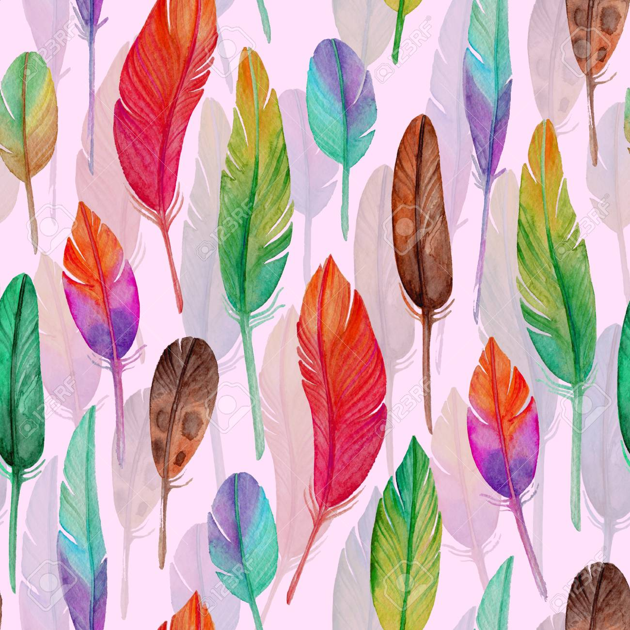 Watercolor Seamless Pattern With Feathers Boho Style For Wallpaper Fabric Wrapping
