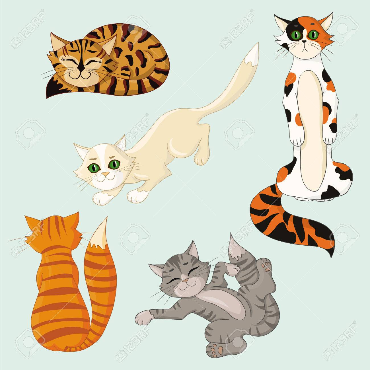 Set Of Funny Cartoon Cats With Different Colored Fur In Different