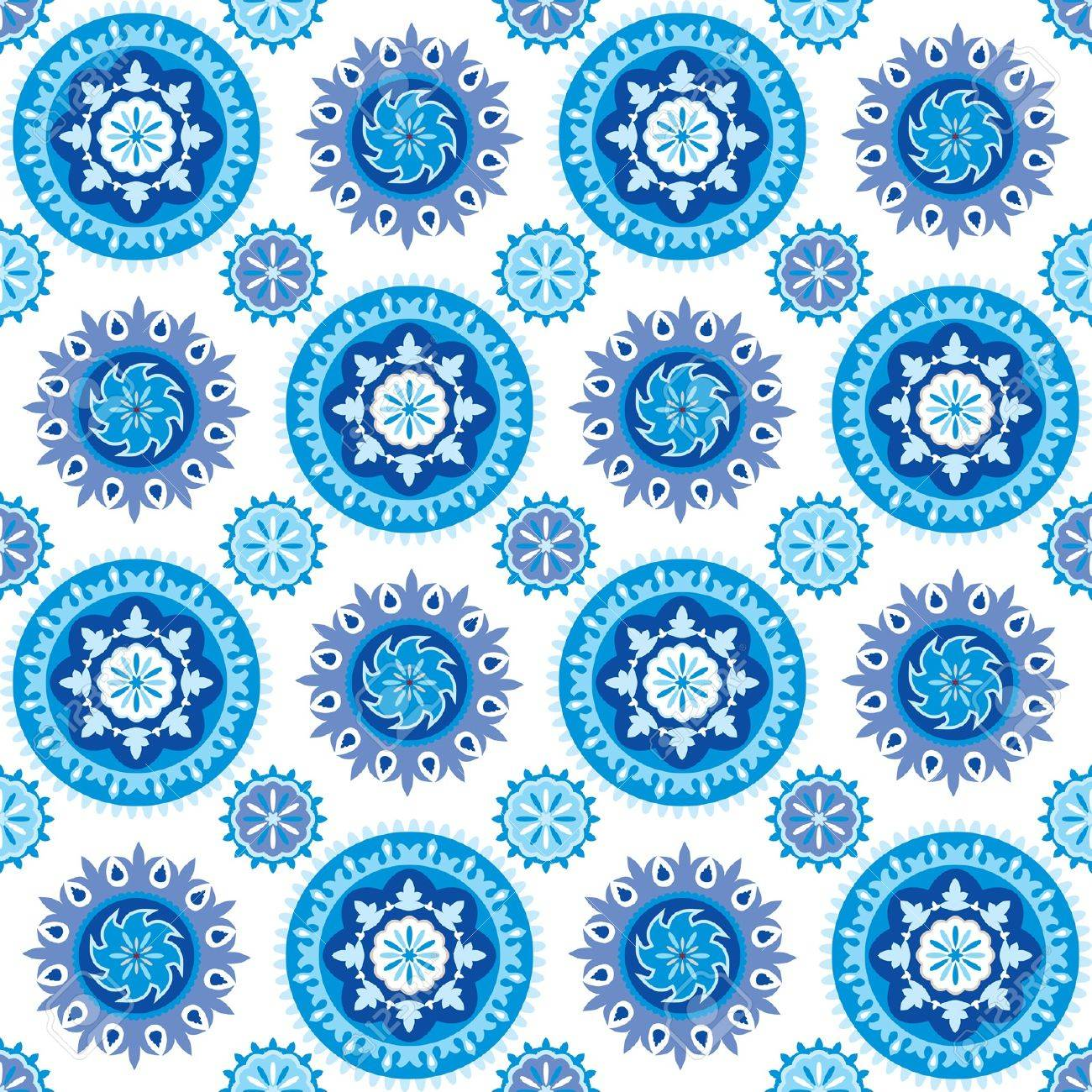 Blue and white seamless background with decorative snowflakes Stock Vector - 11356774