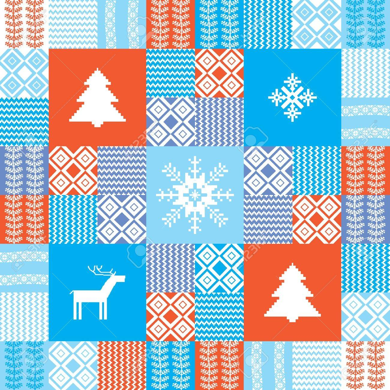 Colorful seamless patchwork style background christmas traditional motifs Stock Vector - 11356769