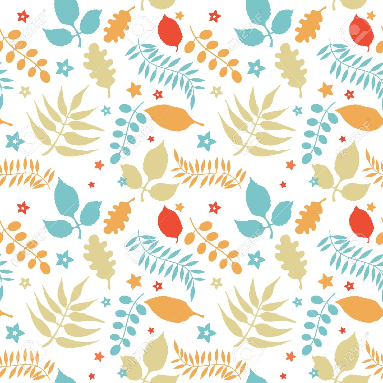 Colorful floral seamless pattern decorative leaves at white background Stock Vector - 11663016