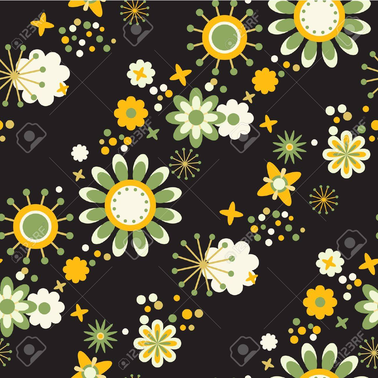 Seamless Floral Wallpaper Flowers At Black Background
