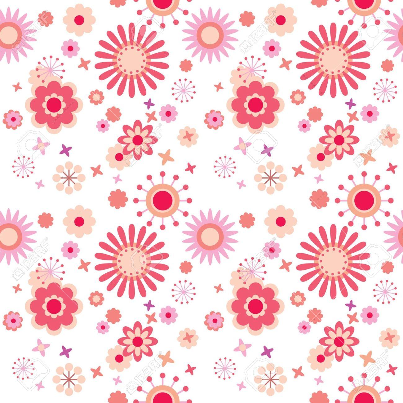 Sin Fisuras Patrón Floral Con Flores De Colores Brillantes En El