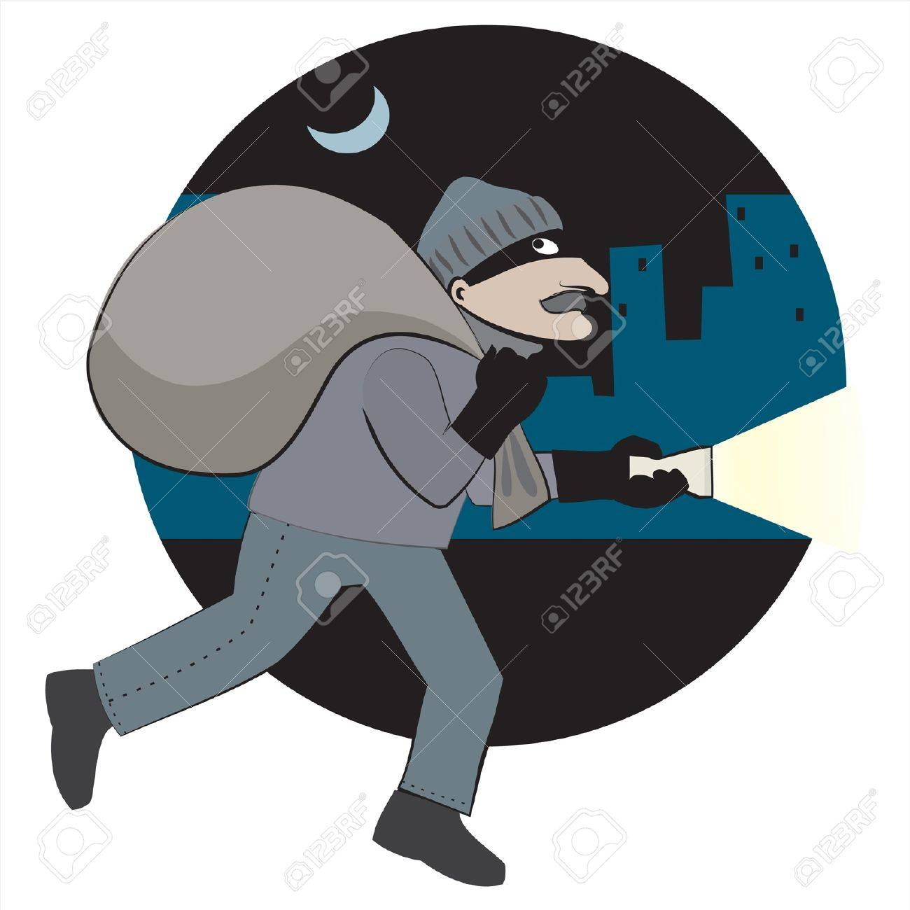 Thief with loot runs through the city Stock Vector - 11663014