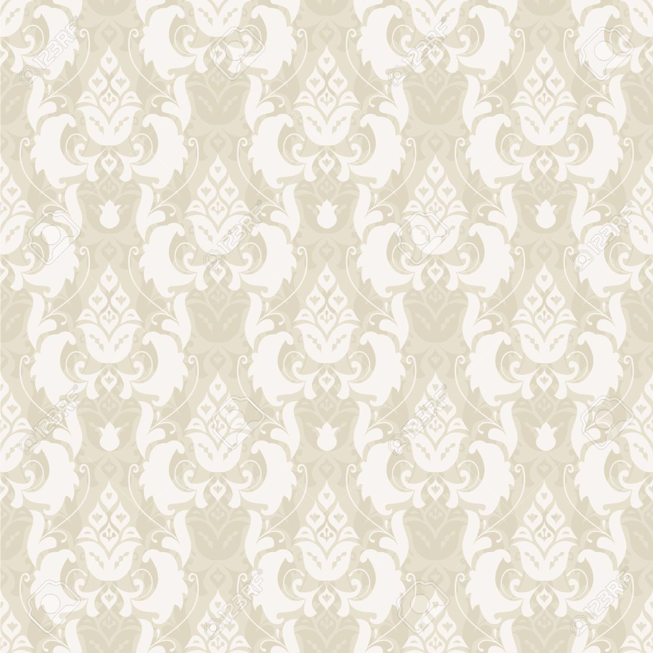 Damask floral seamless pattern in beige, vector Stock Vector - 11853002