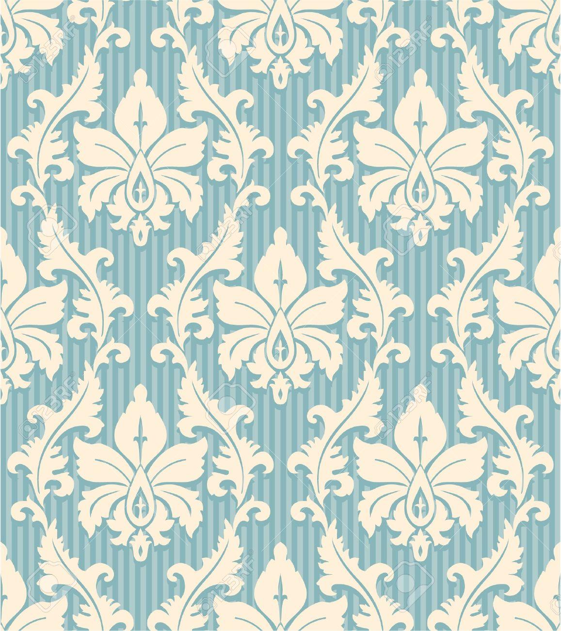 Ornement Floral Lumiere Papier Peint Motif Jaune Et Bleu Fond Raye