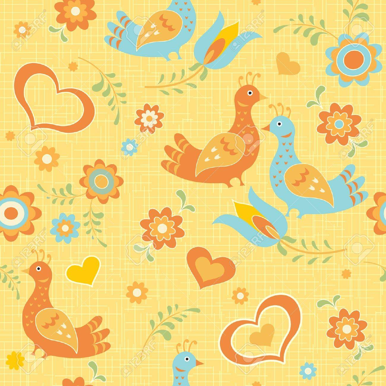 Colorful seamless wallpaper birds, flowers and hearts folk style Stock Vector - 12375162