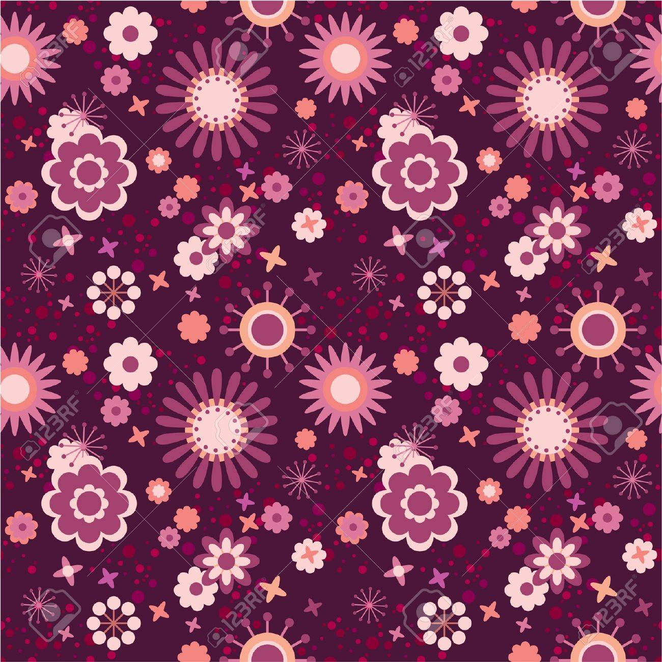 Seamless floral pattern decorative flowers in pink, vinous and red Stock Vector - 12375168
