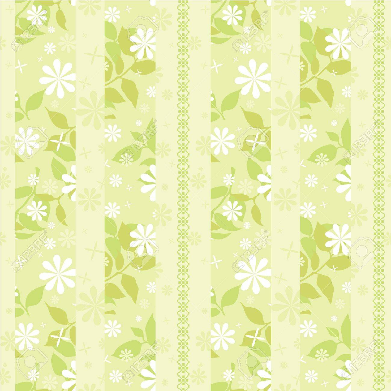 Light Green Striped Wallpaper With Flowers And Decorative Ornament Stock Vector