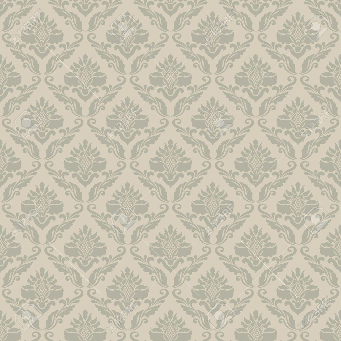 Classic Vintage Seamless Wallpaper Damask Ornmental Pattern