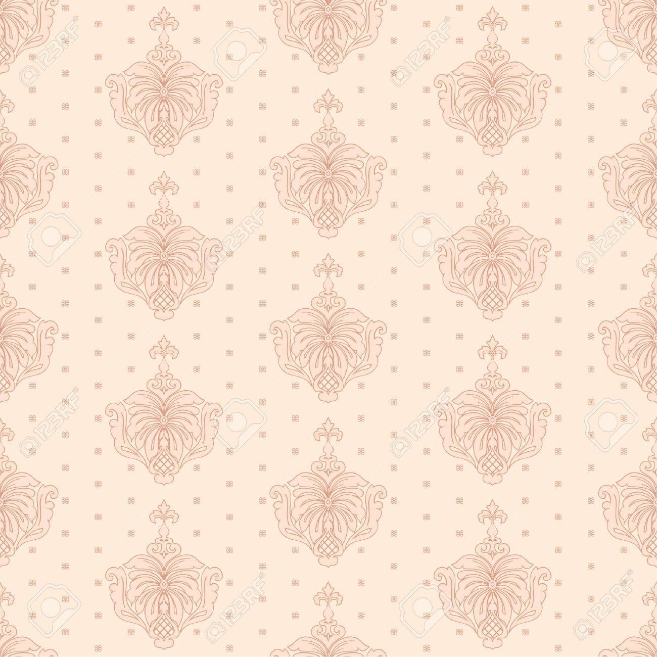 Banque Du0027images   Classique Papier Peint, Floral Sans Soudure De Fond Dans  Le Style Rétro
