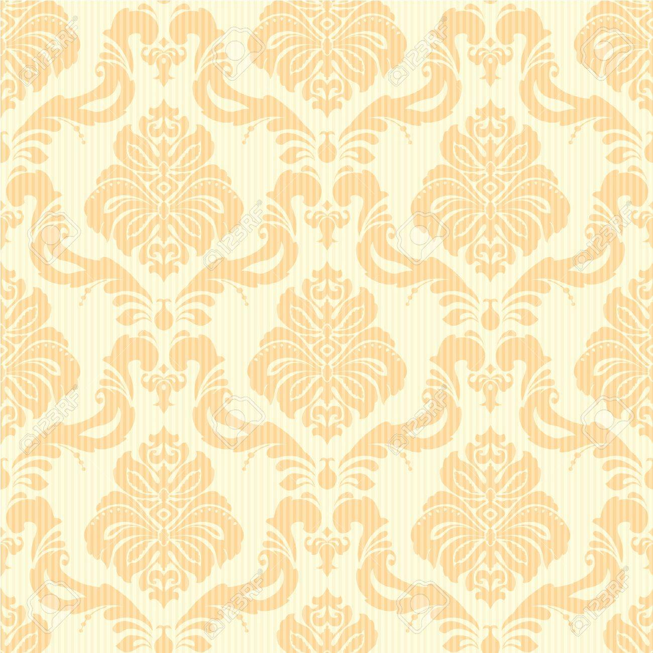 Classic Damask Floral Seamless Wallpaper In Light Orange And