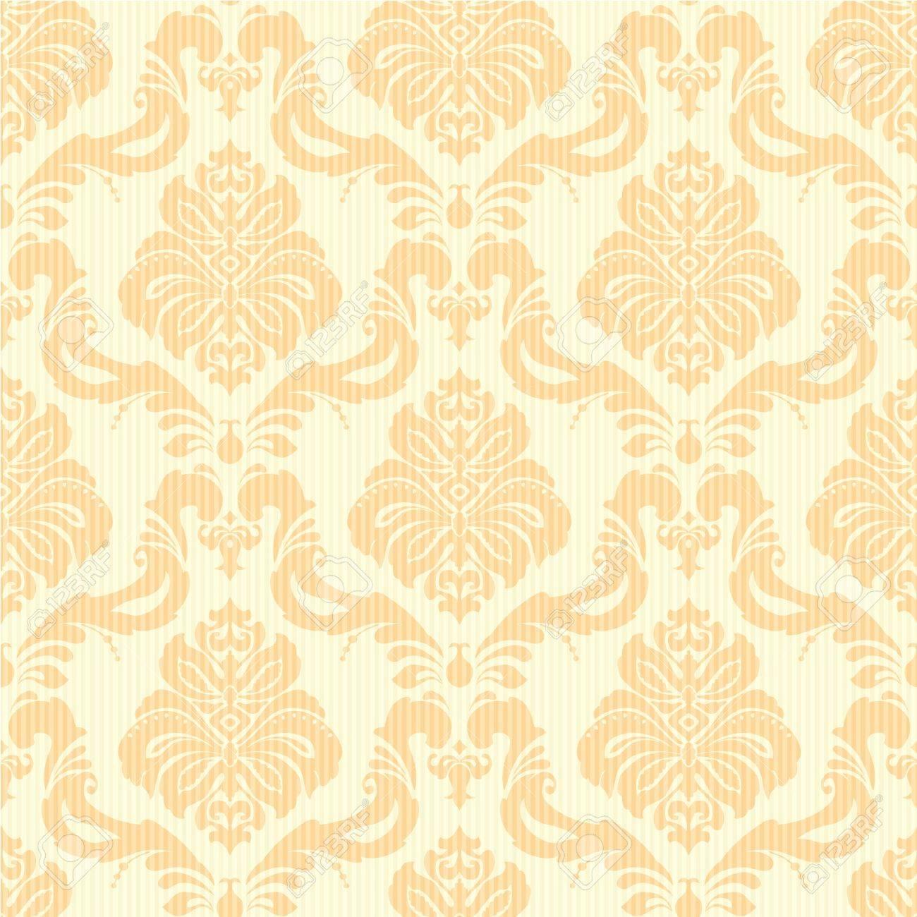 Captivant Banque Du0027images   Classique De Damas Papier Peint à Fleurs Transparente à  La Lumière Orange Et Jaune