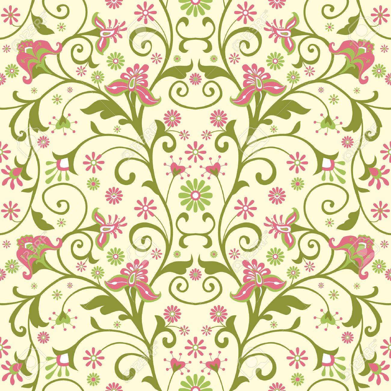 Colorful Floral Wallpaper With Decorative Flowers; Seamless Pattern ...