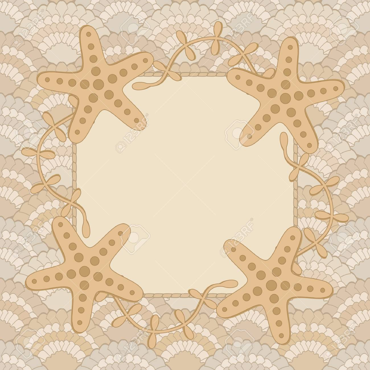 Sea frame or greeting card template sand color Stock Vector - 14973374