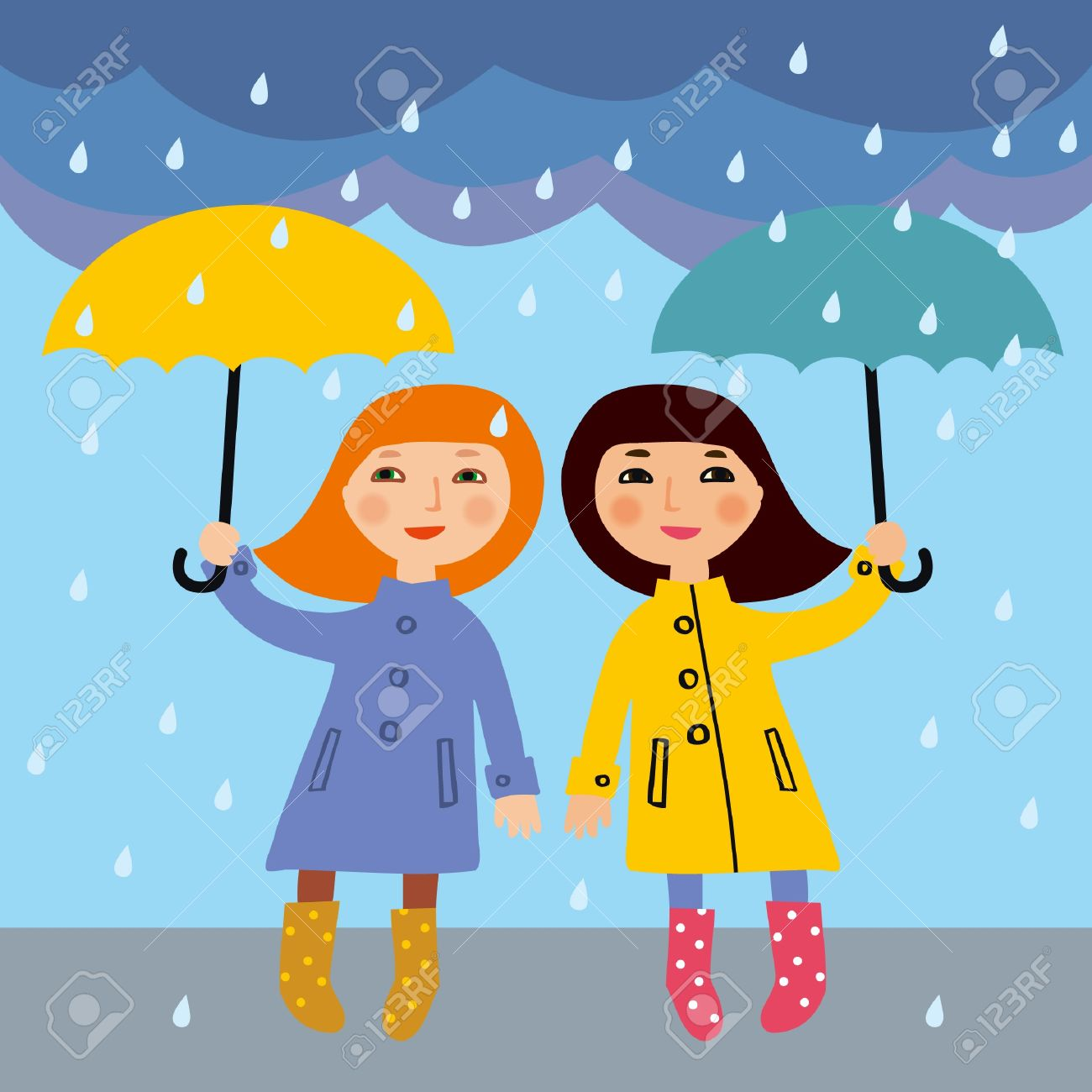 Two little girls in the rain Stock Vector - 15349051