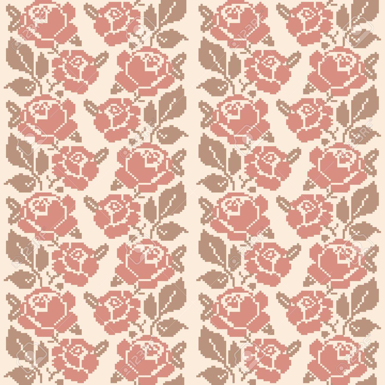 Decorative embroidered roses; seamless pattern in retro style Stock Vector - 15534126