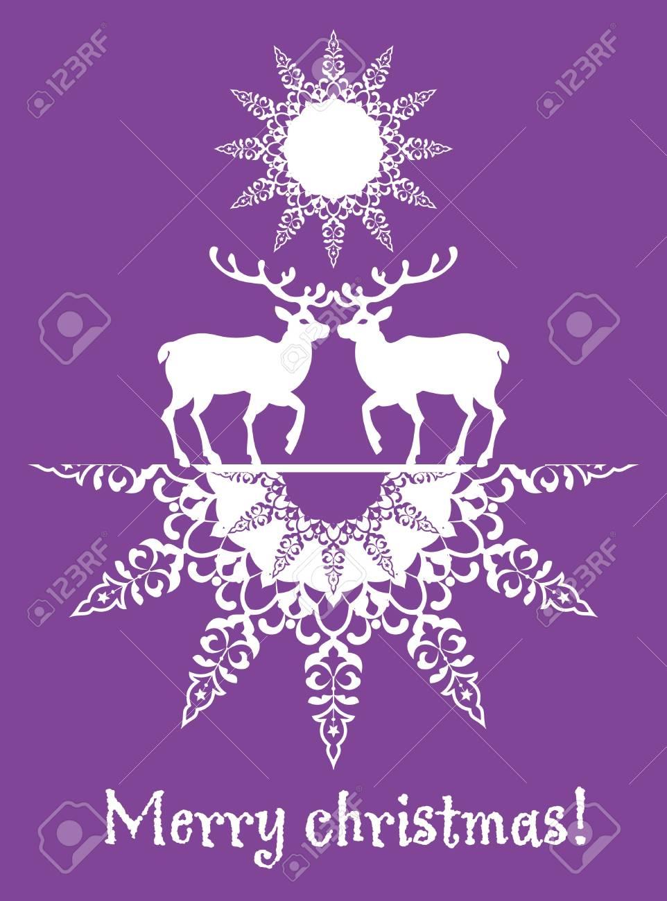 Christmas card deers and snowflake Stock Vector - 16164103