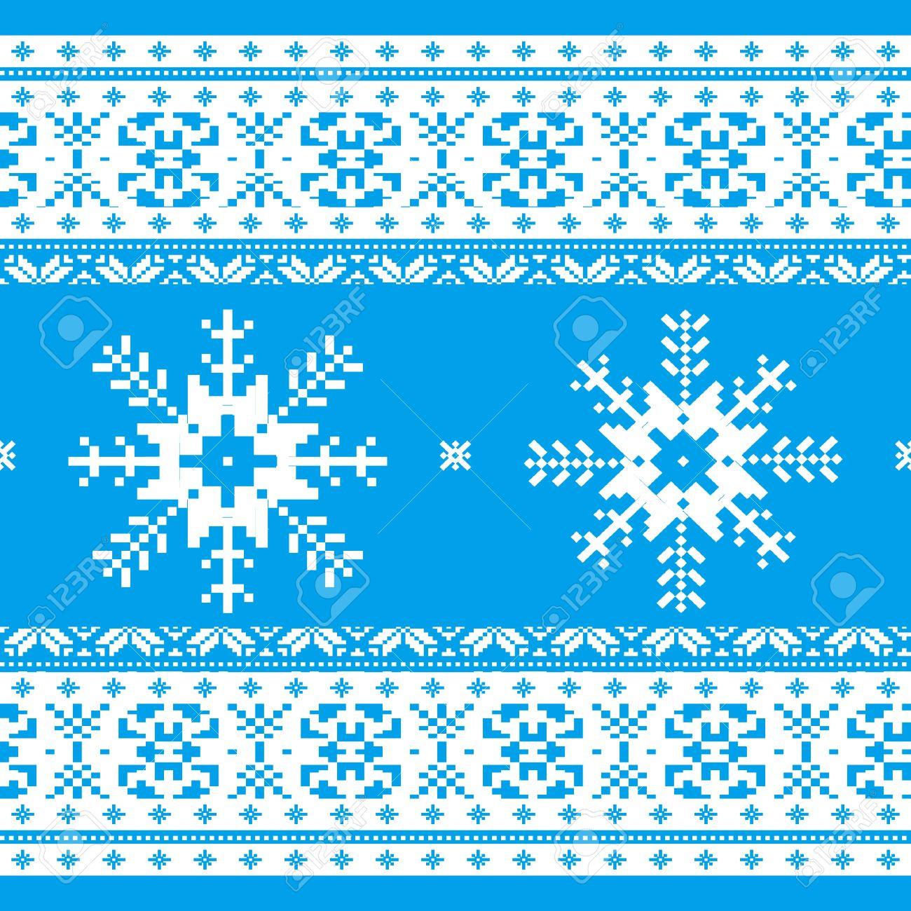 Navidad Tradicional De Punto Patrón Ornamental Con Copos De Nieve ...