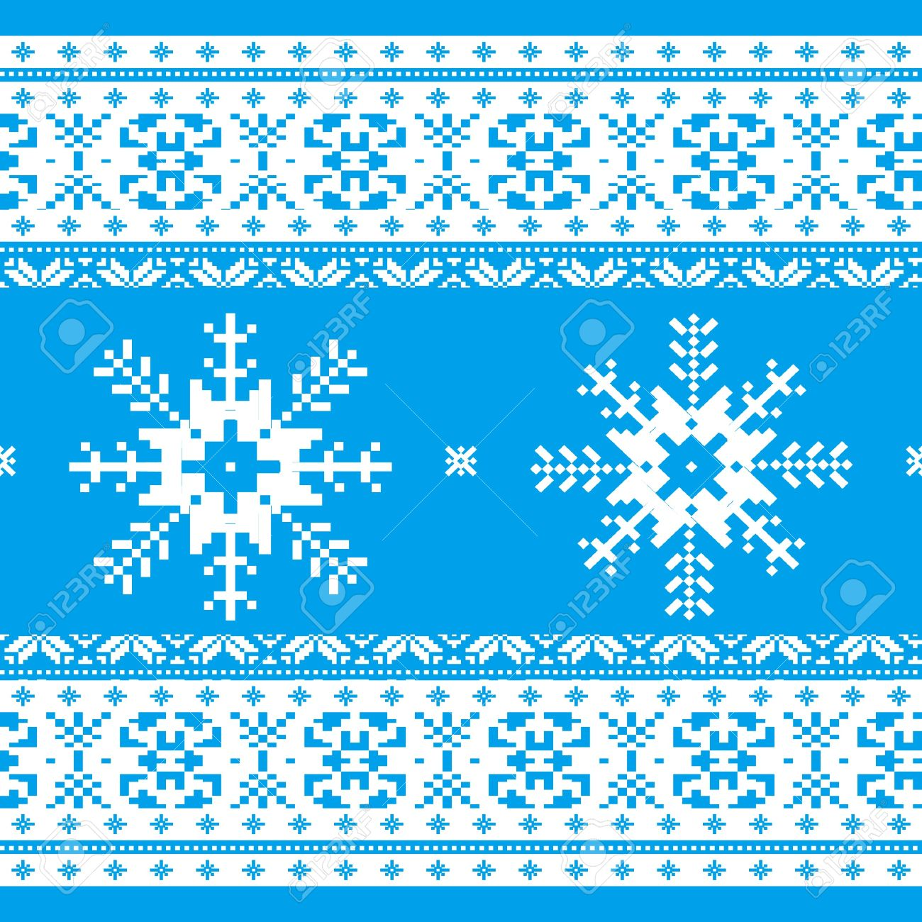 Traditional Christmas Knitted Ornamental Pattern With Snowflakes ...